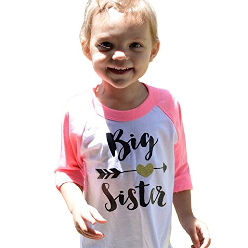TIFENNY Hot Sale Baby Kids Girls Clothes Letter Print Long Sleeve T-shirt Blouse Tops (3T, Pink)