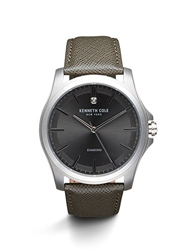 Kenneth Cole New York Men's 'Diamond Rock Out' Quartz Stainless Steel and Leather Dress Watch, Color:Grey (Model: 10027419)