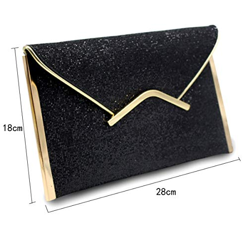 Envelope Bag Bling Sequin Purse Black Evening 1 Prom Meliya Handbag Women's Party Clutch Glitter ZBqxEFw