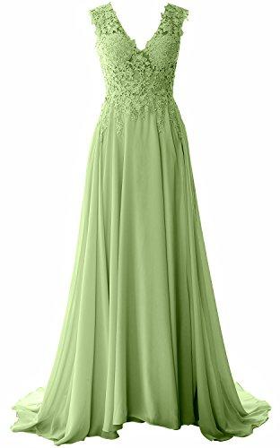Evening Gown Prom Long MACloth Vintage Neck V Dress clover Formal Elegant Lace Chiffon vwqPZq6