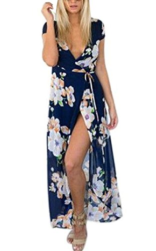 Damen Bohemian Blumen Sommer Chiffon geöffnete Gabel Langes RockKleid Abend  Cocktailparty Strand Sommerkleider Maxi Dress