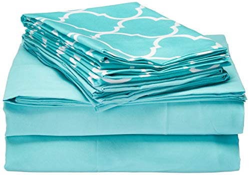 Chic Home Illusion 6 Piece Sheet Set Super Soft Solid Color Deep Pocket Design - Includes Flat & Fitted Sheets and Bonus Printed Geometric Pattern Pillowcases Queen Turquoise