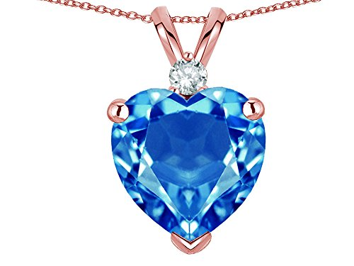 Star K 8mm Genuine Blue Topaz Heart Pendant Necklace 14k Rose Gold ()