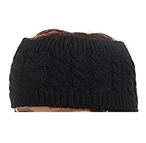 nie Hats for Women Ponytail Headband,Cable Knit Headwrap Ear Warmer (Black) (Line Knit Hat)