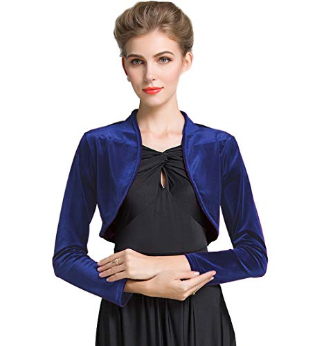 (Medeshe Women Long Sleeve Velvet Open Front Cardigan Cropped Bolero Shrug (Navy Blue,)
