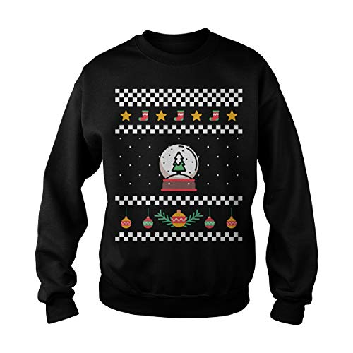 Unisex Ugly Sweater Winter with Christmas Tree Snow Globe Ornaments Stars & Socks Sweatshirt (S, Black) -