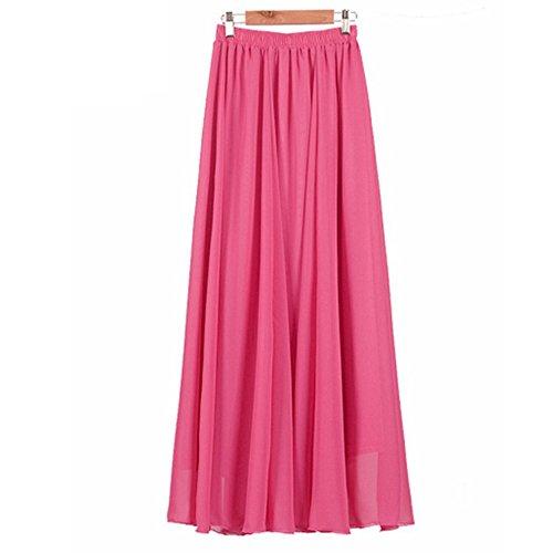 Stardream Rose (StarDream Women Lady Double Layer Chiffon Pleated Retro Elastic Waist Maxi Long Dress Skirt (Rose Red, Length 100cm))