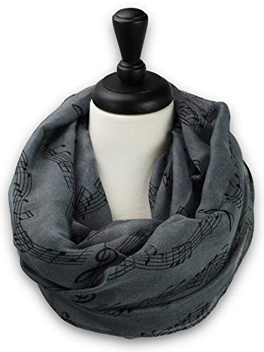 KnitPopShop Music Note Infinity Loop Scarf for Women in the Summer (Grey) ()