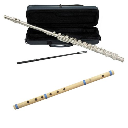 """World Woodwind Pack - Silver Plated Closed Hole C Flute w/Bamboo Cane Flute in D4 23.5"""""""