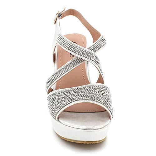Plataforma Noche Tamaño Plata Sandalias Casual Mujer Zapatos Punta Partido Tacón Abierta Paseo Cuña De Boda Señoras Diamante q7aZSX