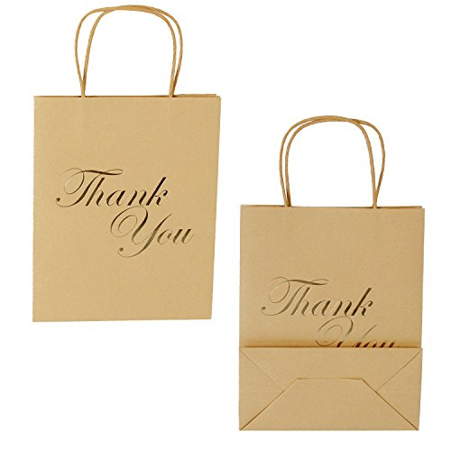 LaRibbons Medium Size Gift Bags - Gold Foil Thank You Brown Paper Bags with Handles for Wedding, Birthday, Baby Shower, Party Favors - 12 Pack - 8