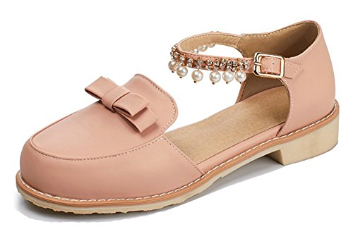 Aisun Womens Cute Beaded Round Toe Dressy Buckled Chunky Low Heel Bowknot DOrsay Sandals With Ankle Strap Pink xbyQKYy