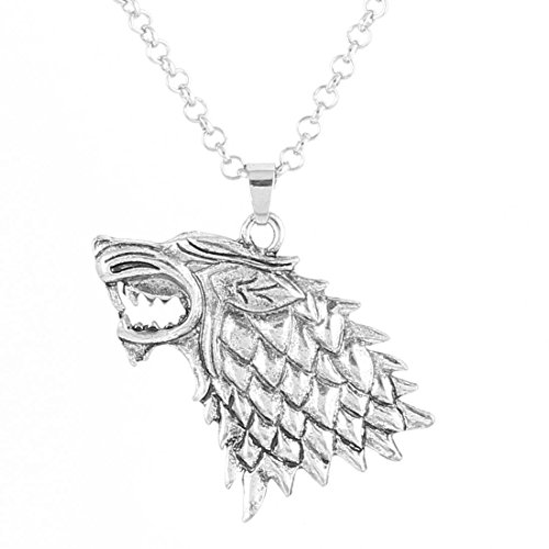 Game of Thrones Stark Wolf Wild Vintage Silver Pendant Inspired Necklace Mens (Daisy Duck Girls Costume)