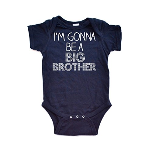 Apericots I'm Gonna Be a Big Brother Short Sleeve Baby Bodysuit Navy Blue ()