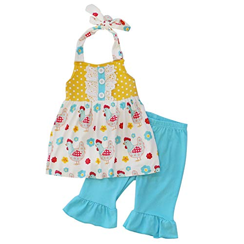 So Sydney Girls Toddler 2-4 Pc Novelty Spring Summer Top Capri Set Accessories (7 (XXL), Vintage Chicken Halter)