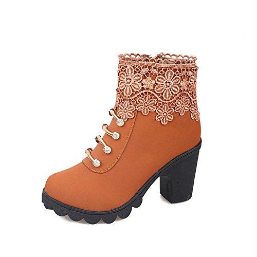 encaje NSXZ botas retro Botas mujer YELLOW corto Martin botas black de de 35 36 4r4w0