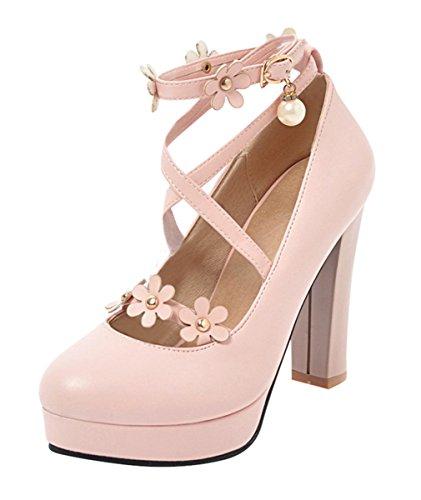 YE Damen Knöchelriemchen Pumps mit Blumen und Perlen Plateau Blockabsatz High Heels Party Schuhe Rosa