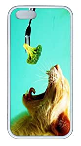 iPhone 5S Case And Cover -Broccoli Cat TPU Silicone Rubber Case Cover For iPhone 5 And iPhone 5S White