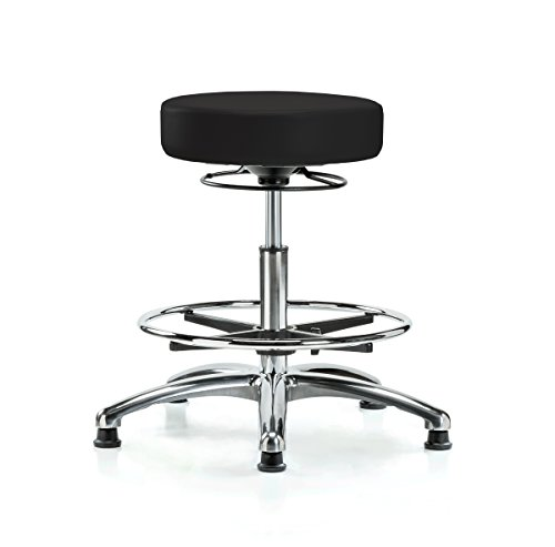 Perch Chrome 360 Degree Stationary Adjustable Massage Therapy Swivel Stool | Workbench Height with Footring | 300-Pound Weight Capacity | 12 Year Warranty (Black Vinyl)
