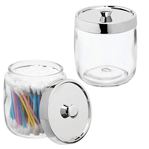 mDesign Bathroom Vanity Glass Storage Organizer Canister Apothecary Jar for Cotton Swabs, Rounds, Balls, Makeup Sponges, Blenders, Bath Salts - 2 Pack - Clear/Chrome