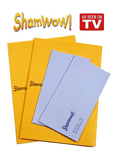 The Original Shamwow - Super Absorbent Multi-Purpose Cleaning Shammy (Chamois) Towel Cloth, Machine Washable, Will Not Scratch (4 Pack: 2 Large Orange and 2 Small Blue)