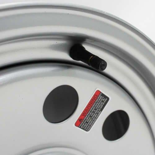 15'' x 6'' Silver Modular Trailer Wheel (6-5.5'' Bolt Circle) with Center Cap and Valve Stem