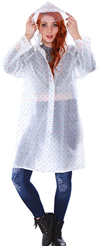 Transparent Emergency Hooded Knee-Length Rain Coat with Pockets, Blue/Red Dots, (Adult Size)