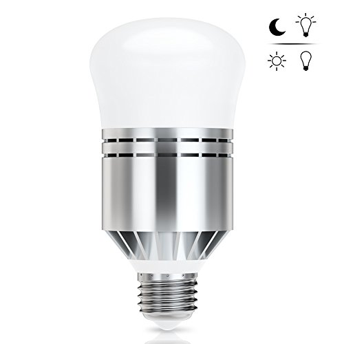 12w Smart Sensor LED Bulb, Dusk to Dawn Light Bulb Built-in Photosensor Detection with Auto Switch Outdoor/Indoor Lamp for Porch Patio Garage Basement Hallway(E26/E27,600lum,Cool White,Pack of 1)