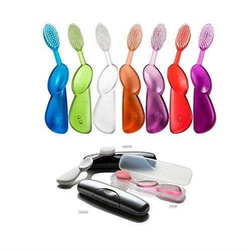 Radius Toothbrush Bundle - 1 Original Right Hand Toothbrush + 1 Travel Case [Colors May Vary] (Radius Scuba Toothbrush)