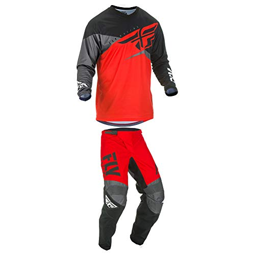 Fly Racing 2019 F-16 Jersey and Pants Combo Youth Red/Black/Gray Large,26 (Dirt Bike Jersey And Pants Youth)