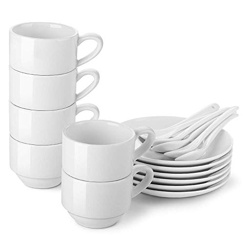 LIFVER Espresso Cups with Saucers and Spoons, 3- Ounces Stackable Espresso Coffee Cup Set, Porcelain Demitasse Cups, Set of 6, White (Sale For Espresso Cups)