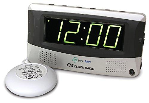 Sonic Alert SBR350ss Sonic Boom Vibrating Alarm Clock FM Radio (Clock Alarm Boom Sonic)