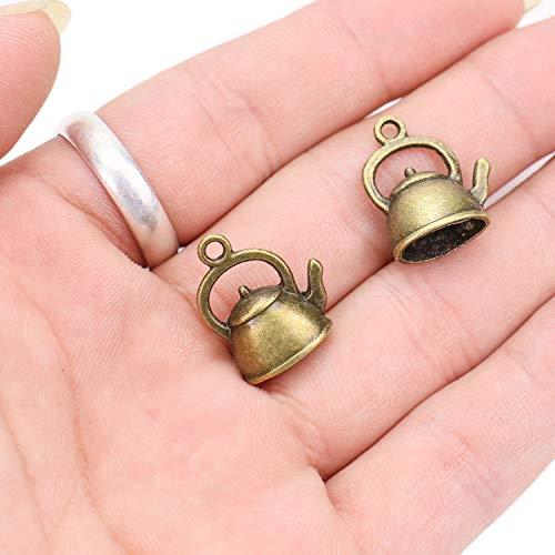 (JETEHO 50pcs Teapot Charm Pendants Pendants for Jewelry Making 20x17mm (Antique Bronze))
