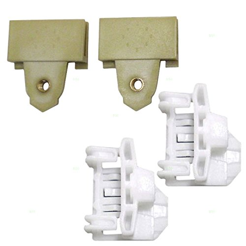 4 Piece Set of Front Left Drivers Window Regulator Repair Glass Channel Guides with Sash Connector Clips 22689012 22697622