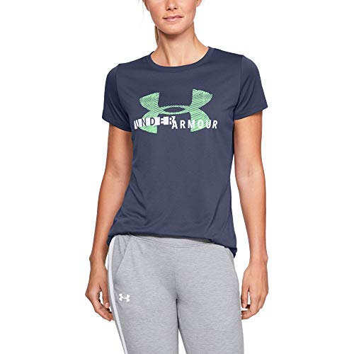 Under Armour Women's Tech Short sleeve Crew Graphic, Utility Blue (496)/White, Medium by Under Armour (Image #1)