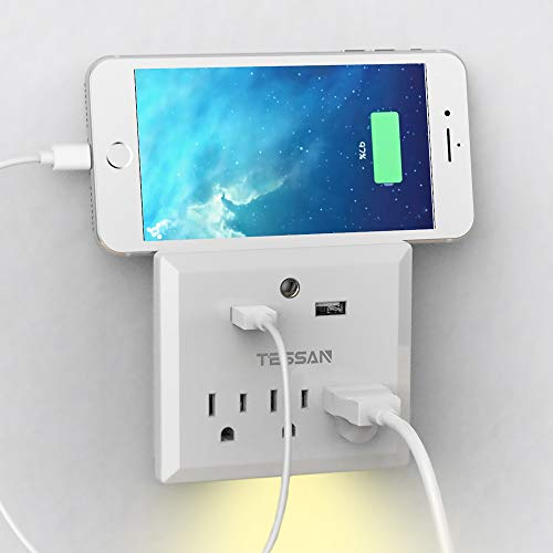 Wall Mount 3 Outlet with 2 USB, Auto Sensor Night Light, Travel Power Strip Cruise Ship - 2 Gang Ac Power Accessory