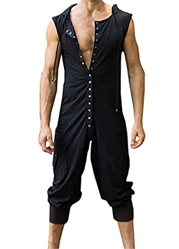 Sherrylily Mens Hoodie Button Romper Sleeveless Sports One Piece Jumpersuit Overalls