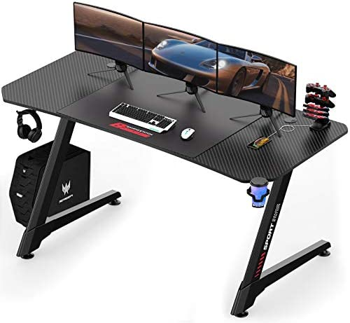 "LEMBERI 63 inch Gaming Desk, Z-Shaped Computer Desk with Free Large Mouse Pad, Professional Game Work Station, PC Gamer Table with USB Gaming Handle Rack, Stand Cup Holder&Headphone Hook (63"", Black)"
