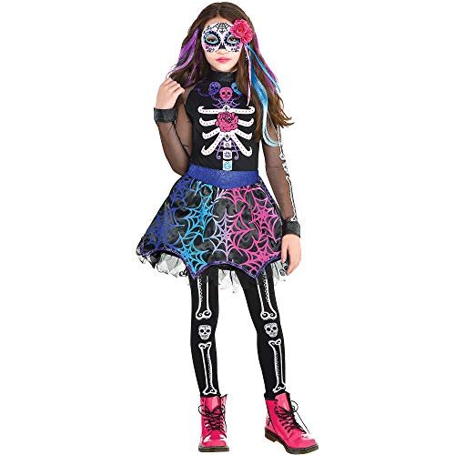 Party City Trendy Day of the Dead Costume for Children, Size Medium, Includes a Bright Dress, Footless Tights, and Mask