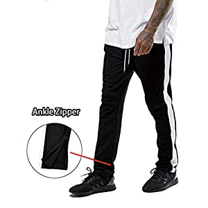 COOFANDY Men's Slim Fit Track Pants with Zipper Ankles Athletic Training Jogger Pants with Side Taping