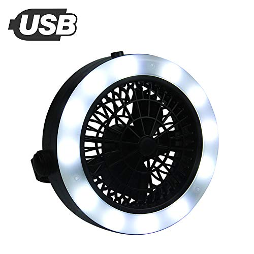 AUKUK USB 12 Led Multifunctional Camping Fan Lamp Tent Lamp Attached Camping Lamp Tent Lanthanum Fan Tent Lighting Camping Hook Attached Outdoor Commodity Electric Fan Fishing Convenience by AUKUK