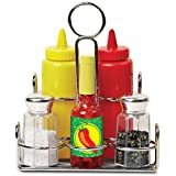 """Melissa & Doug Let's Play House! Condiment Set, Pretend Play, Sturdy Metal Caddy, Realistic Sound Effects, 6 Pieces, 8"""" H x 6.5"""" W x 5"""" L"""