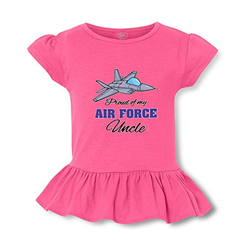 Proud of My Air Force Uncle Short Sleeve Toddler Cotton Girly T-Shirt Tee - Hot Pink, Small
