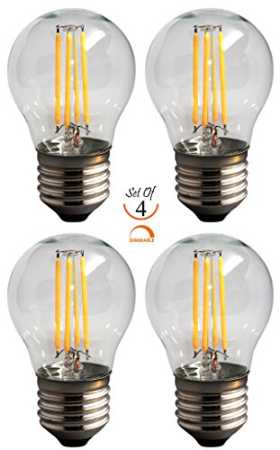 [SleekLighting 4 Watt G16 E26 LED Filament Globe Light Bulb,Dimmble (35W Incandescent Replacement) Warm White 2700K - 4 pack] (G16 Led)