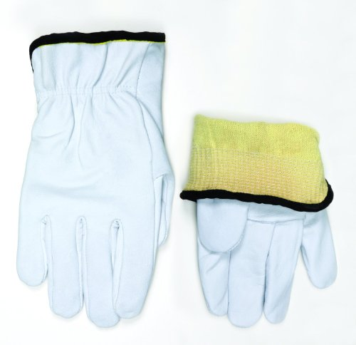 MCR Safety 3601KXL Premium Grain Goatskin Driver 13 Gauge Kevlar Liner Gloves with Straight Thumb, White, X-Large, 1-Pair