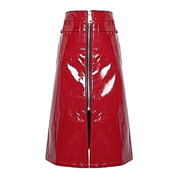 MIBKLPG Faldas para Mujer Faldas De Cuero Falda De Cintura Alta A ...
