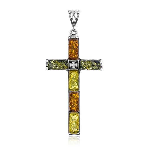 Multicolor Amber Sterling Silver Filigree Back Reversible Large Cross Pendant Amber Designer Cross
