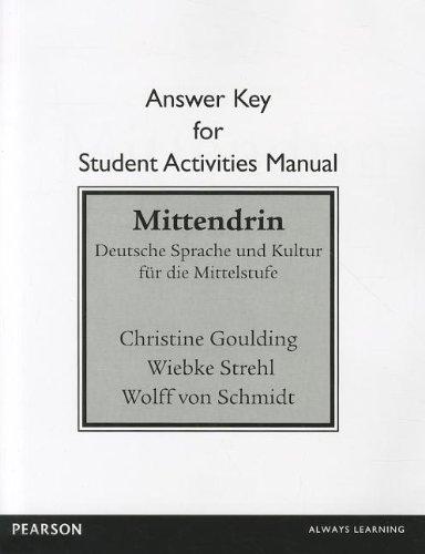 (SAM Answer Key for Mittendrin: Deutsche Sprache und Kultur für die Mittelstufe)