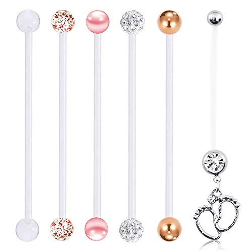 FECTAS 14G Pregnancy Belly Button Rings for Maternity Sports Clear Acrylic Bioflex Flexibal Retainers 1 1/2in