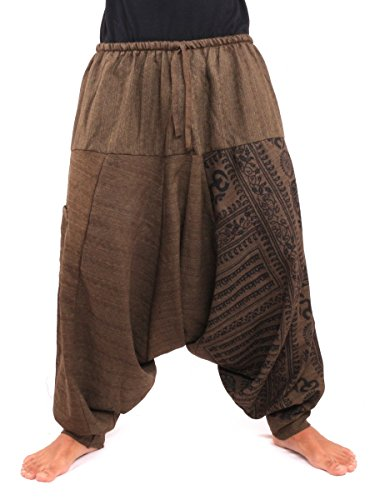 (Jing Shop Aladdin Harem Drawcord Baggy Pants Traditional Print Cotton Mix Brown,Dark Brown,One Size)